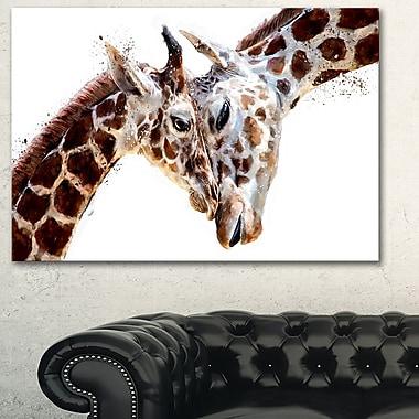 Art mural en métal d'animal, girafes affectueuses, 28 x 12 po, (MT2351-28-12)