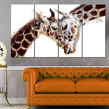 Art mural en métal à thème animal, girafes affectueuses, 48 x 28, 4 panneaux (MT2351-271)