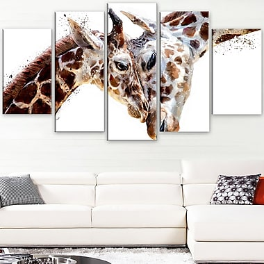 Loving Giraffes Animal Metal Wall Art, 60x32, 5 Panels, (MT2351-373)