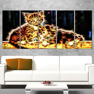 Vivid Kittens Animal Metal Wall Art, 60x28, 5 Panels, (MT2352-401)