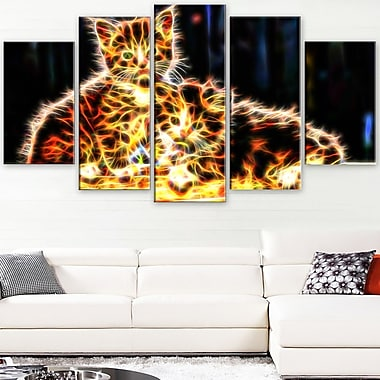 Vivid Kittens Animal Metal Wall Art, 60x32, 5 Panels, (MT2352-373)