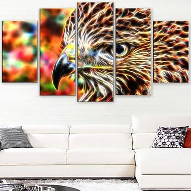 Art mural en métal à thème animal, aigle coloré, 60 x 32, 5 panneaux (MT2353-373)