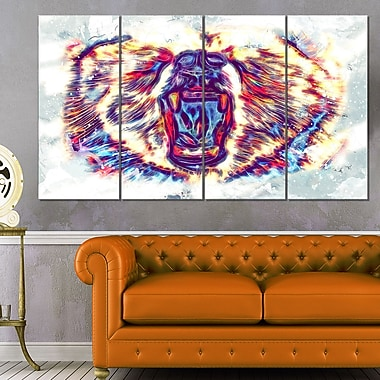 Bold Bear Animal Metal Wall Art, 48x28, 4 Panels, (MT2355-271)