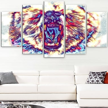 Bold Bear Animal Metal Wall Art, 60x32, 5 Panels, (MT2355-373)