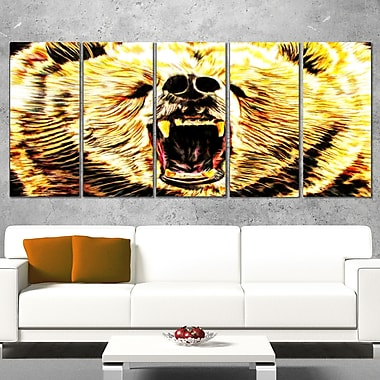 Brazen Bear Animal Metal Wall Art, 60x28, 5 Panels, (MT2356-401)