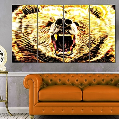 Brazen Bear Animal Metal Wall Art, 48x28, 4 Panels, (MT2356-271)