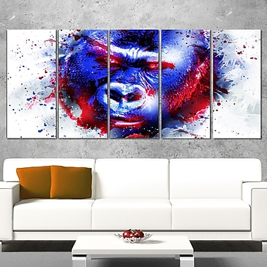 Watchful Gorilla Animal Metal Wall Art, 60x28, 5 Panels, (MT2358-401)