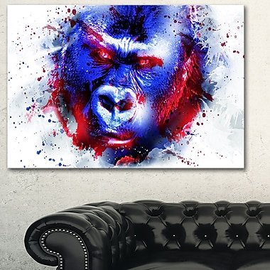 Watchful Gorilla Animal Metal Wall Art, 28x12, (MT2358-28-12)