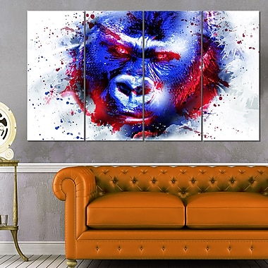 Watchful Gorilla Animal Metal Wall Art, 48x28, 4 Panels, (MT2358-271)