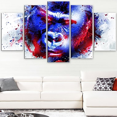 Watchful Gorilla Animal Metal Wall Art, 60x32, 5 Panels, (MT2358-373)
