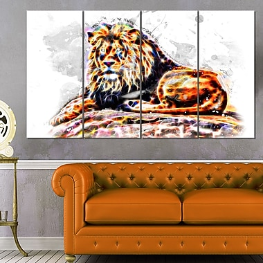 Caivating King Animal Metal Wall Art, 48x28, 4 Panels, (MT2359-271)