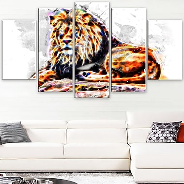 Caivating King Animal Metal Wall Art, 60x32, 5 Panels, (MT2359-373)