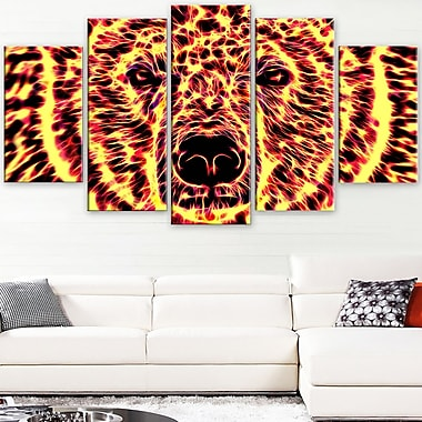 Psychedelic Bear Animal Metal Wall Art, 60x32, 5 Panels, (MT2360-373)