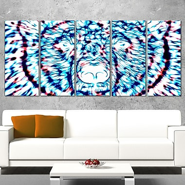 Psychedelic Bear Animal Metal Wall Art, 60x28, 5 Panels, (MT2361-401)