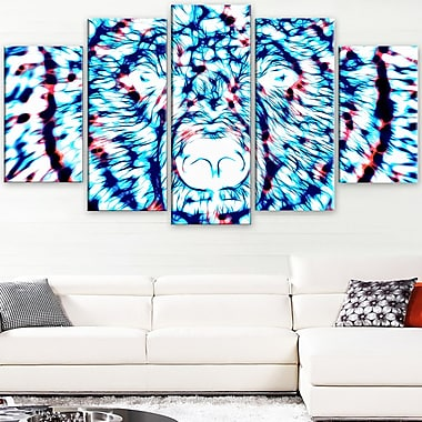 Psychedelic Bear Animal Metal Wall Art, 60x32, 5 Panels, (MT2361-373)