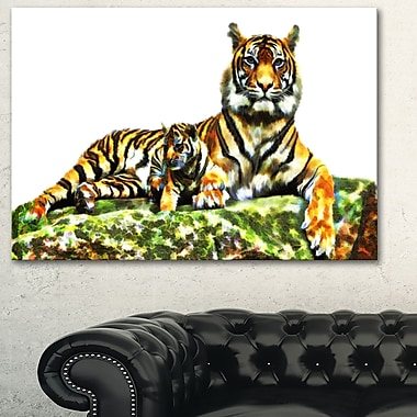 Tigres doux art mural animal en métal, 28 x 12 (MT2363-28-12)