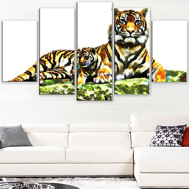 Soft Tigers Animal Metal Wall Art, 60x32, 5 Panels, (MT2363-373)