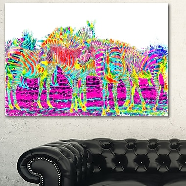 Rainbow Zebras Animal Metal Wall Art, 28x12, (MT2364-28-12)