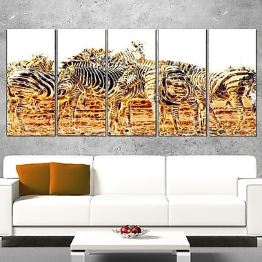 Zebra Herd Animal Metal Wall Art