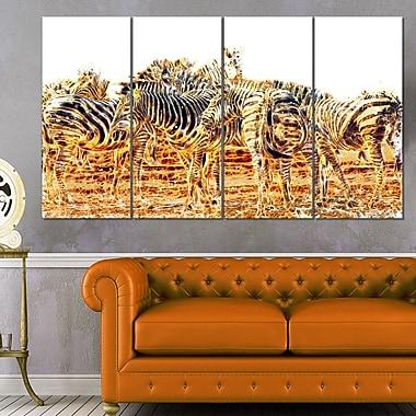 Zebra Herd Animal Metal Wall Art, 48x28, 4 Panels, (MT2365-271)