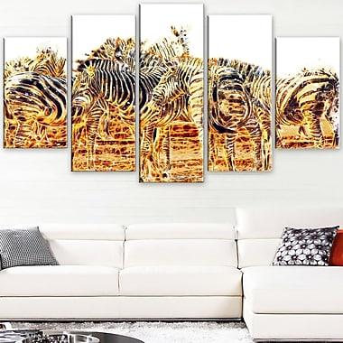 Zebra Herd Animal Metal Wall Art, 60x32, 5 Panels, (MT2365-373)