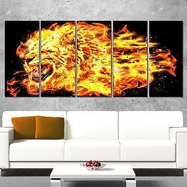 Blazing Lion Animal Metal Wall Art, 60x28, 5 Panels, (MT2366-401)