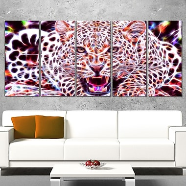 Glowing Wild Cat Animal Metal Wall Art, 60x28, 5 Panels, (MT2367-401)
