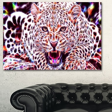 Glowing Wild Cat Animal Metal Wall Art, 28x12, (MT2367-28-12)