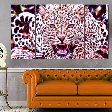 Glowing Wild Cat Animal Metal Wall Art, 48x28, 4 Panels, (MT2367-271)