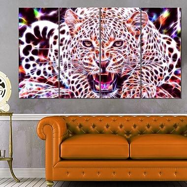 Chat sauvage lumineux art mural animal en métal, 48 x 28, 4 panneaux (MT2367-271)