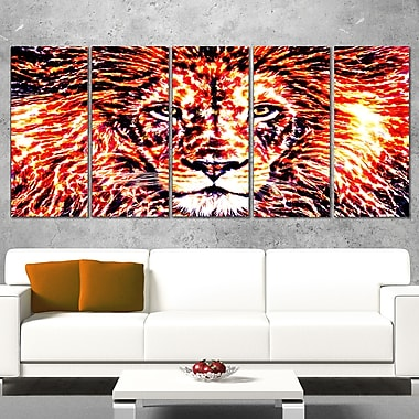Lively Lion Animal Metal Wall Art, 60x28, 5 Panels, (MT2369-401)