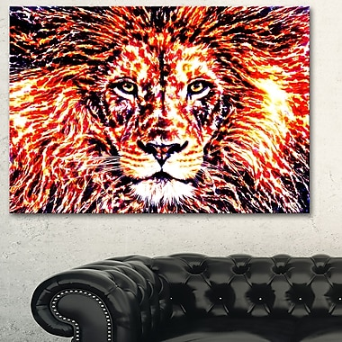 Lion vif art mural animal en métal, 28 x 12 (MT2369-28-12)