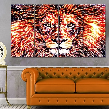Lively Lion Animal Metal Wall Art, 48x28, 4 Panels, (MT2369-271)