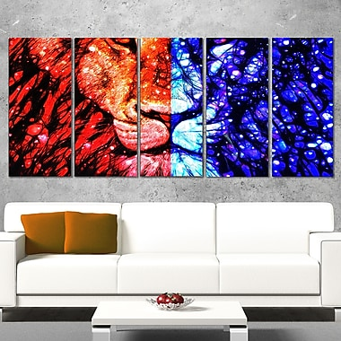 King of the Jungle Lion Metal Wall Art, 60x28, 5 Panels, (MT2401-401)