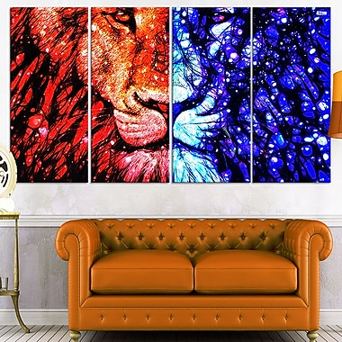 King of the Jungle Lion Metal Wall Art, 48x28, 4 Panels, (MT2401-271)