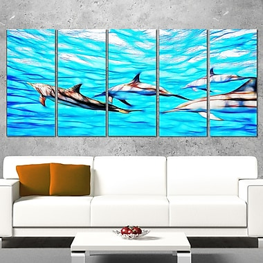 Family of Dolphins Ocean Metal Wall Art, 60x28, 5 Panels, (MT2403-401)
