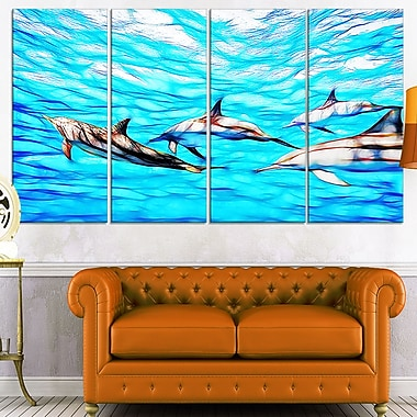 Family of Dolphins Ocean Metal Wall Art, 48x28, 4 Panels, (MT2403-271)