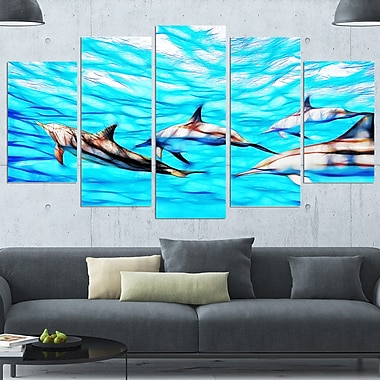 Family of Dolphins Ocean Metal Wall Art, 60x32, 5 Panels, (MT2403-373)