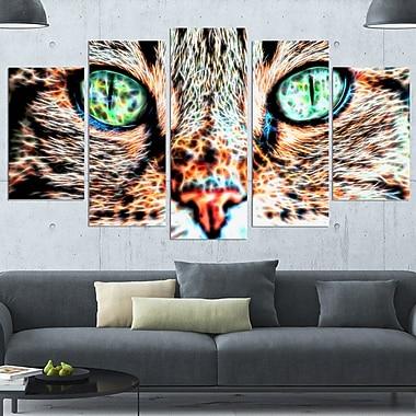 Fenêtres sur l'âme yeux de chat art mural en métal, 60 x 32, 5 panneaux (MT2411-373)