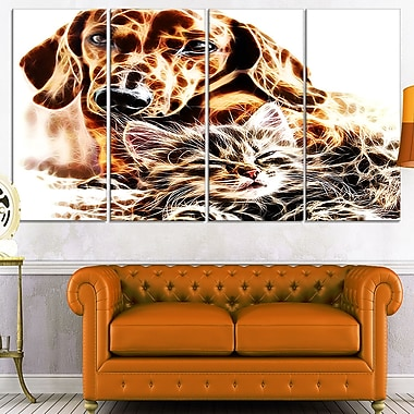 Best Buddies Cat & Dog, art mural en métal, 48 x 28, 4 panneaux (MT2413-271)
