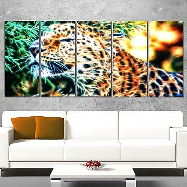 Beautiful Cheeta Metal Wall Art, 60x28, 5 Panels, (MT2415-401)