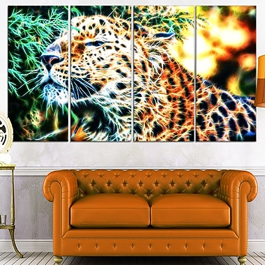 Beautiful Cheeta Metal Wall Art, 48x28, 4 Panels, (MT2415-271)