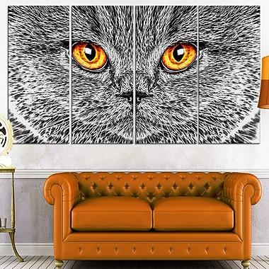 Art mural en métal, chat gris, 48 x 28 po, 4 panneaux, (MT2416-271)