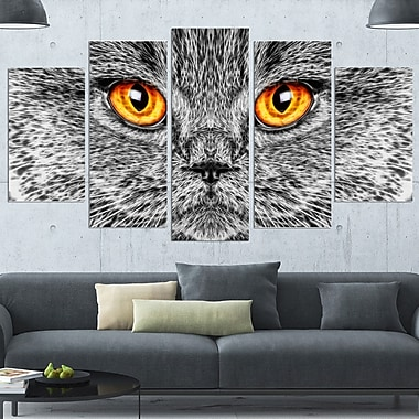 Grey Cat Metal Wall Art, 60x32, 5 Panels, (MT2416-373)