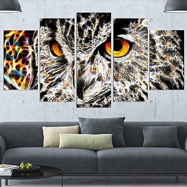 Art mural en métal, hibou joyeux, 60 x 32 po, 5 panneaux (MT2420-373)