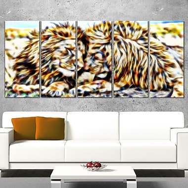 Soul Mates Lion Metal Wall Art, 60x28, 5 Panels, (MT2422-401)