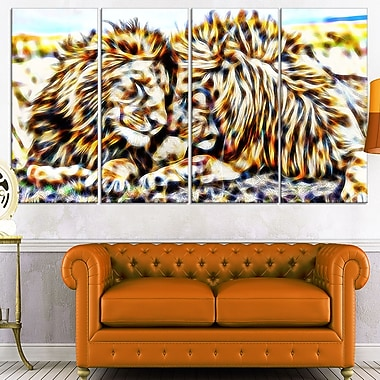 Soul Mates Lion Metal Wall Art, 48x28, 4 Panels, (MT2422-271)