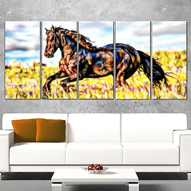 Ride Free Horse Metal Wall Art, 60x28, 5 Panels, (MT2424-401)