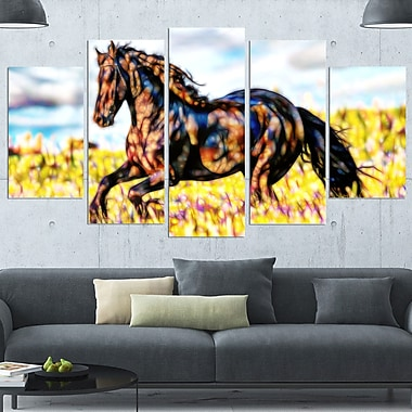 Ride Free Horse Metal Wall Art, 60x32, 5 Panels, (MT2424-373)