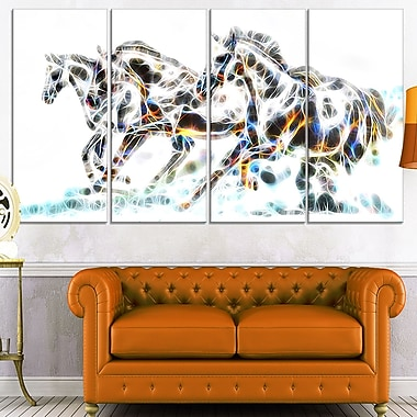Wild Horses Metal Wall Art, 48x28, 4 Panels, (MT2425-271)